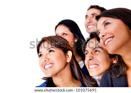 Group of people looking up - isolated over a white background - stock photo