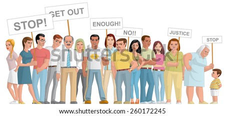 Group of people  manifesting - stock photo