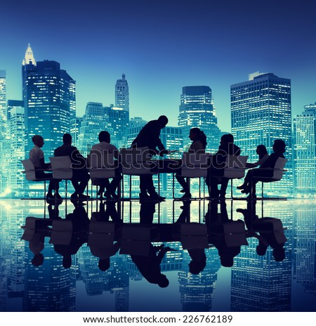 Group of People Meeting Business Cityscape Teamwork Concept - stock photo