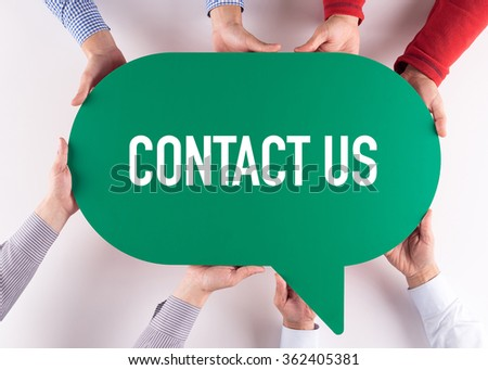 Group of People Message Talking Communication CONTACT US Concept - stock photo