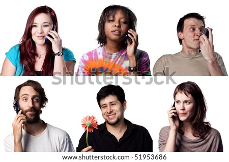 Group of people on talking on a cell phone - stock photo
