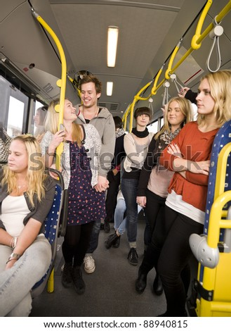 Group of people on the bus - stock photo