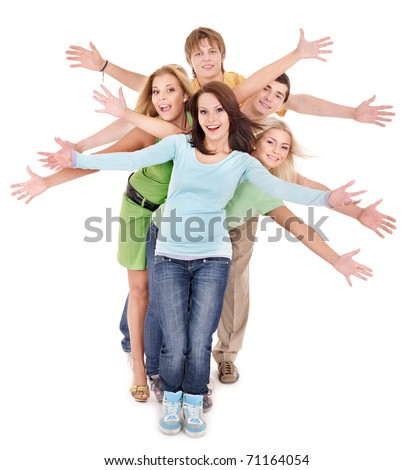 Group of people on white. - stock photo