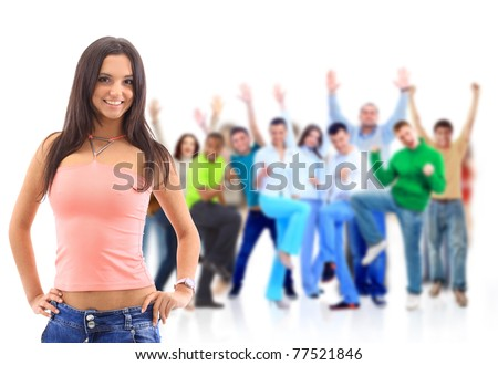 Group of people on white.Teenager girl and teenager boy