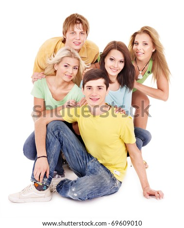 Group of people on white.Tenager girl and teenager boy.