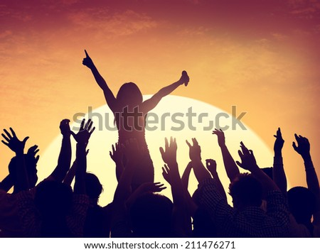 Group of People Party in Back Lit - stock photo