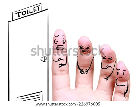group of people queued in the toilet with drawing fingers concept - stock photo