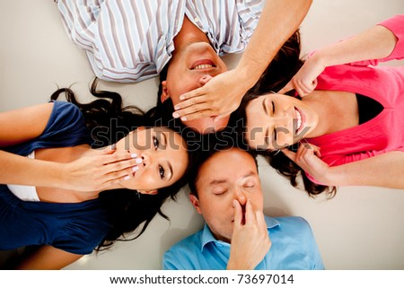 Group of people representing the human senses - stock photo