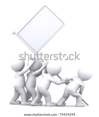 Group of people rising blank flag. Advertising concept - stock photo
