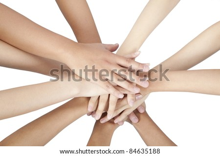group of people's hands together isolated on white - stock photo