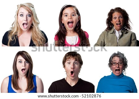 Group of people showing genuine surprise, isolated image - stock photo