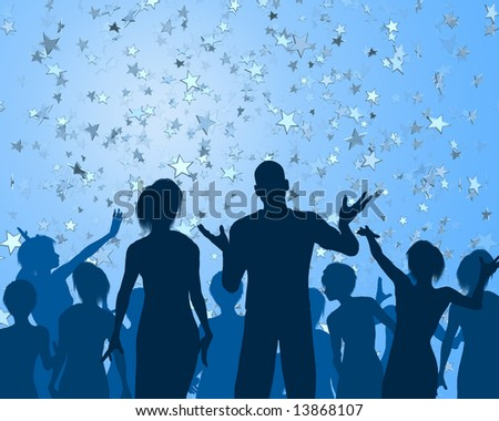 Group of people silhouetted at a cool party - stock photo