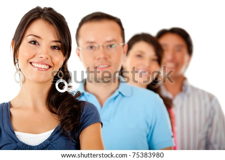 Group of people smiling ? isolated over a white background - stock photo