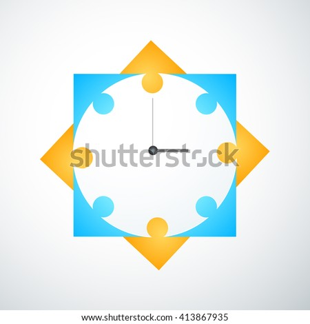 Group of people spending time together. Coworkers office meeting table. Working people thinking, brainstorming with time management. Modern white illustration background. - stock photo