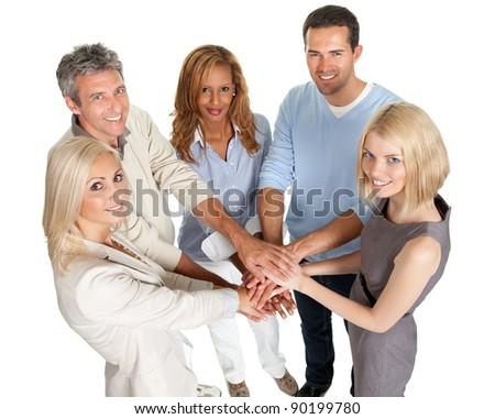 Group of people stacking their hands together isolated on white background - stock photo