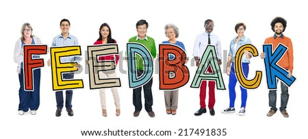 Group of People Standing Holding Feedback Letter - stock photo