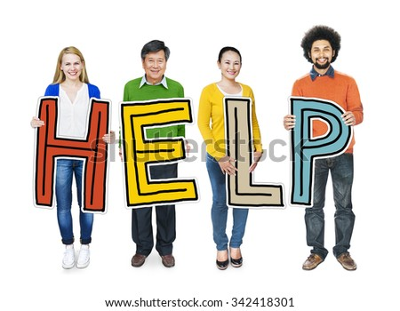 Group of People Standing Holding Help