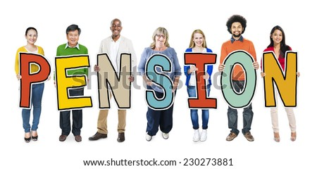 Group of People Standing Holding Pension Letter - stock photo