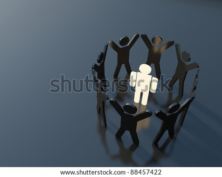 Group of people standing in a circle with hands up around one bright red figure. Concept of uniqueness, individuality and teamwork - stock photo