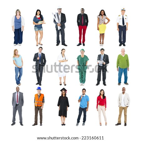 Group of People Standing in a Row Isolated on White