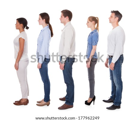 Group Of People Standing In Queue Over White Background - stock photo