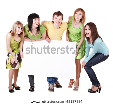 Group of people take banner.Isolated. - stock photo
