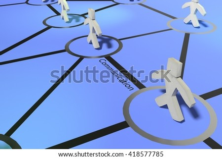 Group of people talking in social network, connection and communication between users. 3D rendering of web relations. Human relations - stock photo