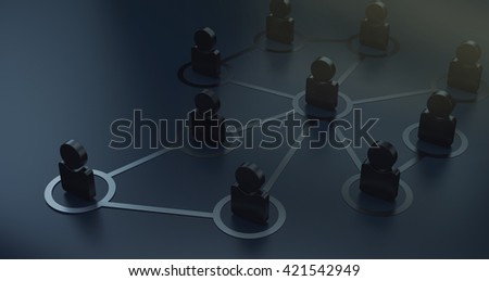 Group of People Talking in Social Network 3D Render - stock photo