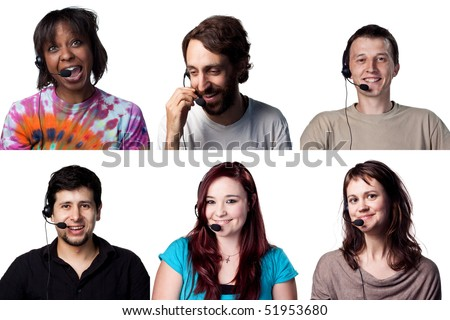 Group of people talking over internet VOIP with headset - stock photo