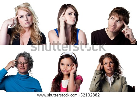 Group of people thinking hard, contemplating a decision - stock photo
