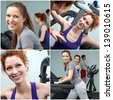 Group of people training on sport machines in gym - stock photo
