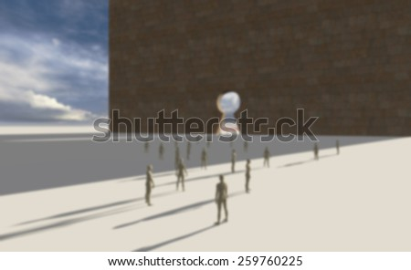 Group of  people walking into a gate shaped like a keyhole - stock photo