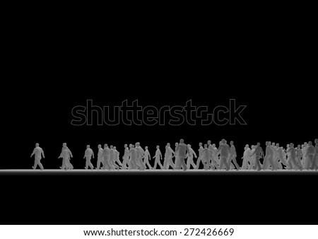 Group of people walking together - stock photo