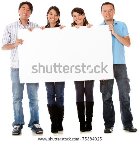 Group of people with a banner - isolated over white