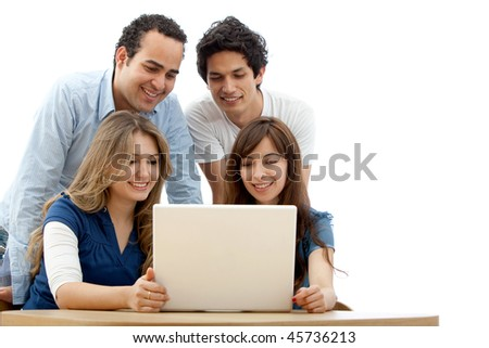 Group of people with a laptop isolated over a white background - stock photo