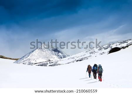 group of people with backpacks walking along the glaicer - stock photo