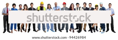 Group of people with big empty card isolated in white - stock photo