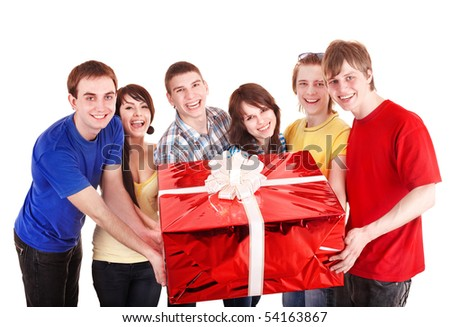 Group of people with big red gift box. Isolated. - stock photo