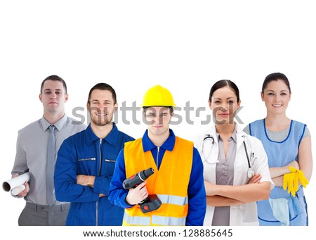 Group of people with different jobs standing arms folded in line on white background