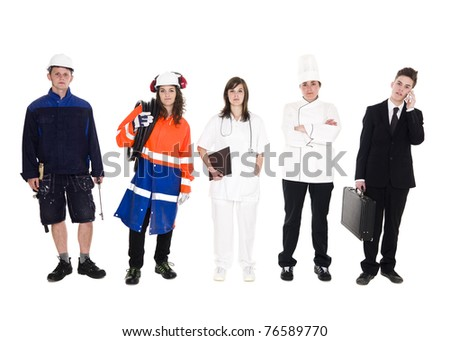 Group of people with different occupation isolated on white background - stock photo