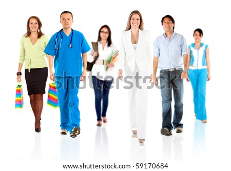 Group of people with different professions and occupations walking - isolated - stock photo