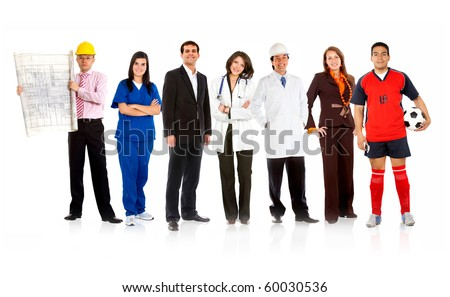 Group of people with different professions isolated over a white background
