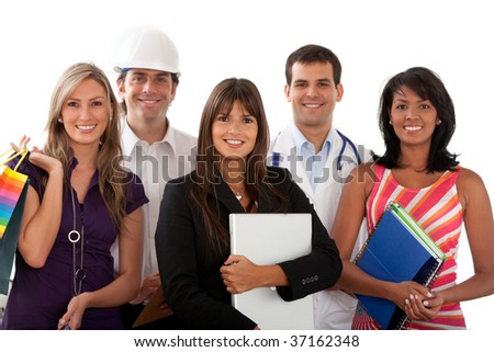 Group of people with different professions isolated over white - stock photo