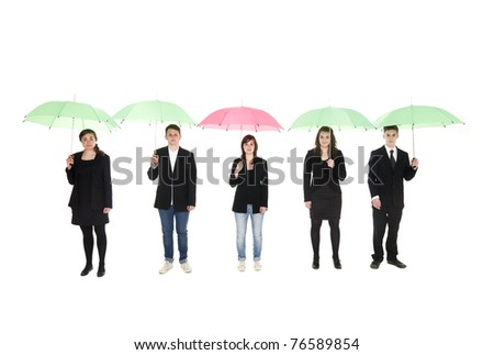 Group of people with umbrellas isolated on white background - stock photo