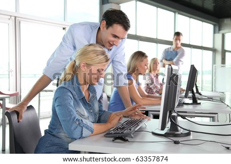 Group of people working in the office - stock photo