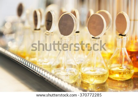 Group of Perfume glass bottles - stock photo