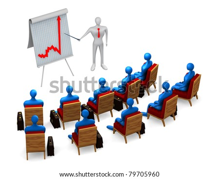 Group of persons and businessman on white background - stock photo