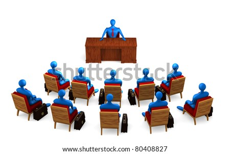 Group of persons on the briefing - stock photo