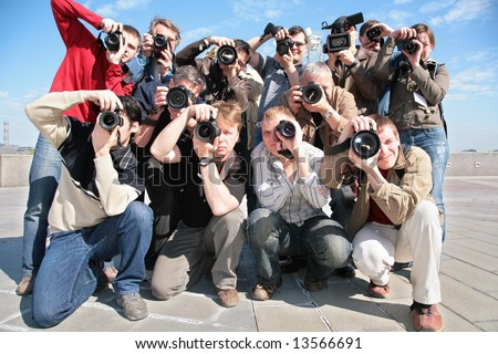 group of photographers - stock photo