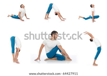 Group of photos of handsome active man doing yoga fitness poses. isolated on white background - stock photo